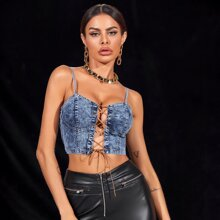 Eyelet Lace Up Knot Cami Denim Top