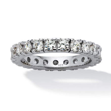 DiamonArt 3.5MM 2 CT. T.W. White Cubic Zirconia Sterling Silver Round Band, 7 , No Color Family