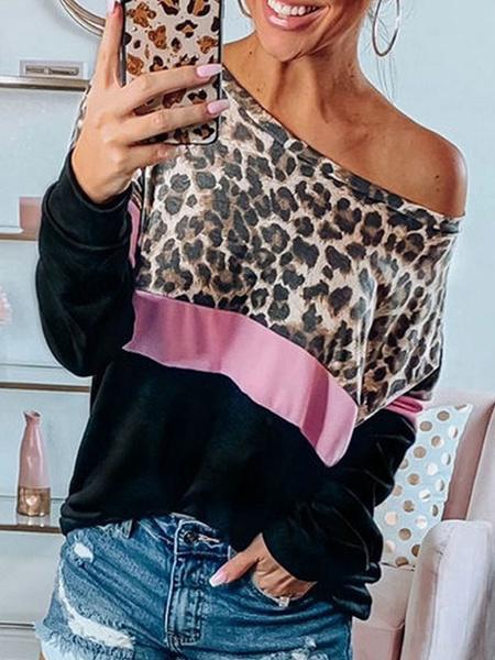 Milanoo Woman Oversized Pullover Long Sleeves Leopard Print Color Block Sweatshirt