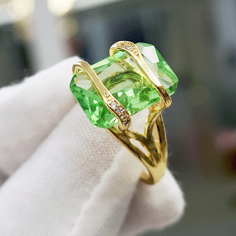 Vintage 18k Gold Plated Geometric Square Zircon Ring Metal Rhinestone Transparent Emerald Finger Rings