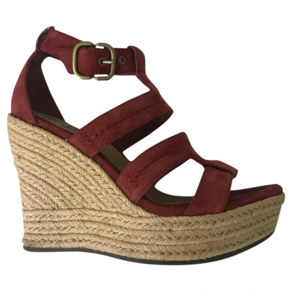 Ugg \N Sandalen in  Rot Leder