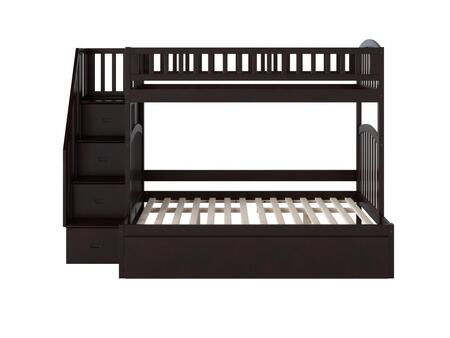 Westbrook Collection AB65751 Twin Over Full Size Staircase Bunk Bed with 3 Built-In Shelves  4 Staircase Storage Drawers  Twin Size Urban Trundle and