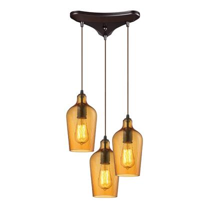 10331/3HAMB Hammered Glass Collection 3 Light chandelier in Oil Rubbed