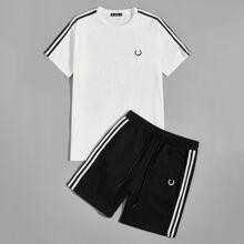 Conjunto top con cinta de rayas con bordado de dibujo con shorts track