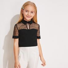 Girls Keyhole Neck Mesh Yoke Top