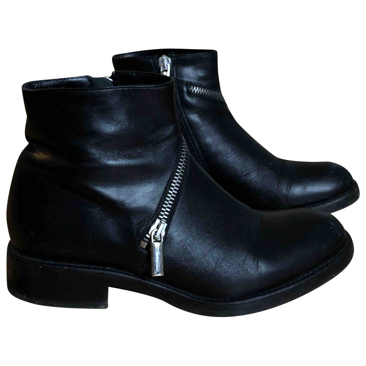 Non Signé / Unsigned \N Black Leather Ankle boots for Women 37 EU