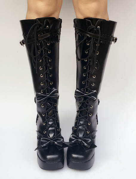 Milanoo Black Lolita Boots Knee High Chunky Heel Lace Up Platform Buckle Lolita High Boots With Detachable Bow