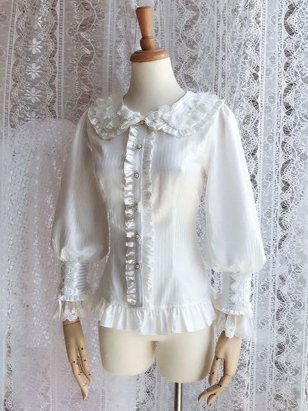 Milanoo Rococo Lolita Blouses Lace Chiffon Ruffles Peter Pan Collar White Lolita Top