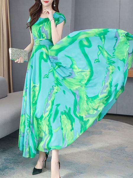 Milanoo Maxi vestidos de manga corta Imprimir cuello de la joya del verano del vestido de la gasa