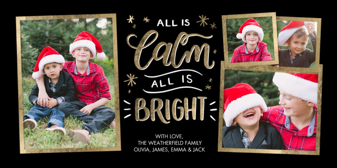 Christmas Photo Cards Flat Glossy Photo Paper Cards with Envelopes, 4x8, Card & Stationery -Christmas Hand Lettered Calm by Tumbalina