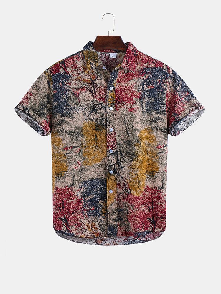 Mens Tree Printed Casual Lapel Short Sleeve T-Shirt