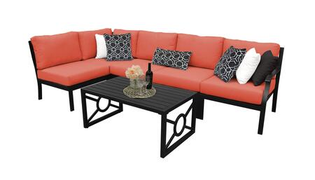 MADISON-06q-TANGERINE Kathy Ireland Homes and Gardens Madison Ave. 6 Piece Aluminum Patio Set 06q with 1 Set of Snow and 1 Set of Persimmon