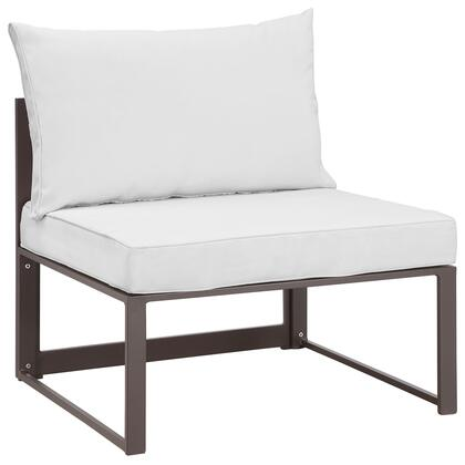Fortuna Collection EEI-1520-BRN-WHI 29 Armless Outdoor Patio Sofa with Powder Coated Aluminum Frame  Machine Washable Polyester Cushions and Water