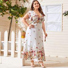 Grosse Grossen - Maxi Kleid mit Blumen Muster und V Kragen