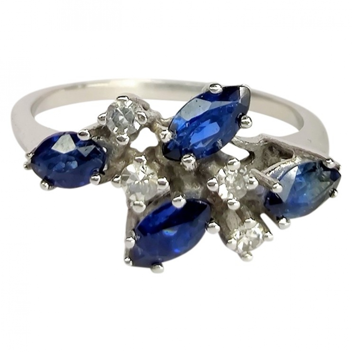 Non Signé / Unsigned Motifs Floraux Blue White gold ring for Women 53 MM