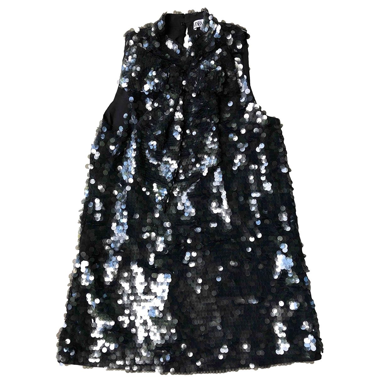 Zara - Robe   pour femme en a paillettes - noir