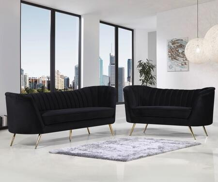 Margo Collection 622BLACKSL 2-Piece Living Room Set with Sofa and Loveseat in