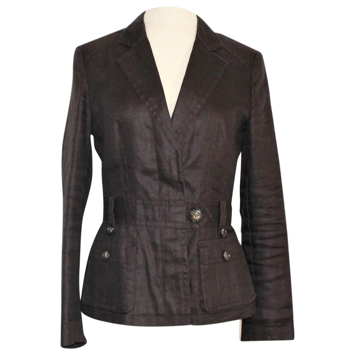 Zara - Veste   pour femme en lin - marron