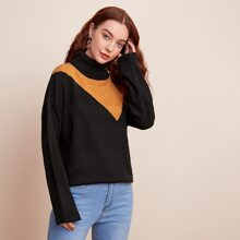Funnel Neck Drop Shoulder Sweater
