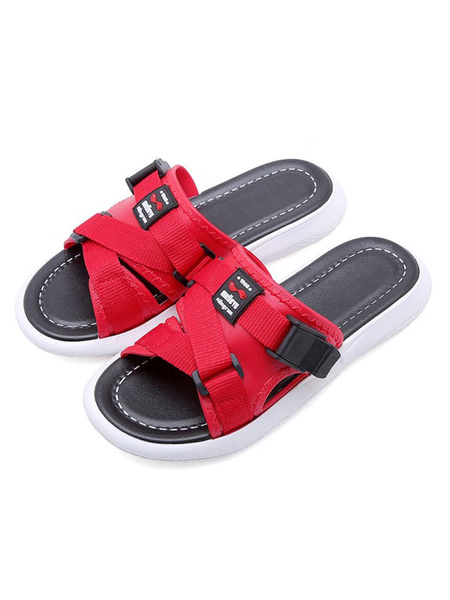 Milanoo Sandal Slippers White PVC Upper Round Toe Sandal Slides Beach Sandals