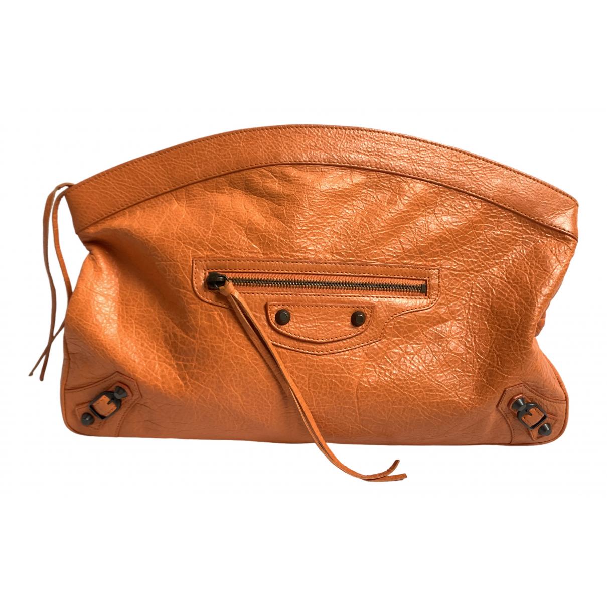 Balenciaga - Pochette   pour femme en cuir - orange
