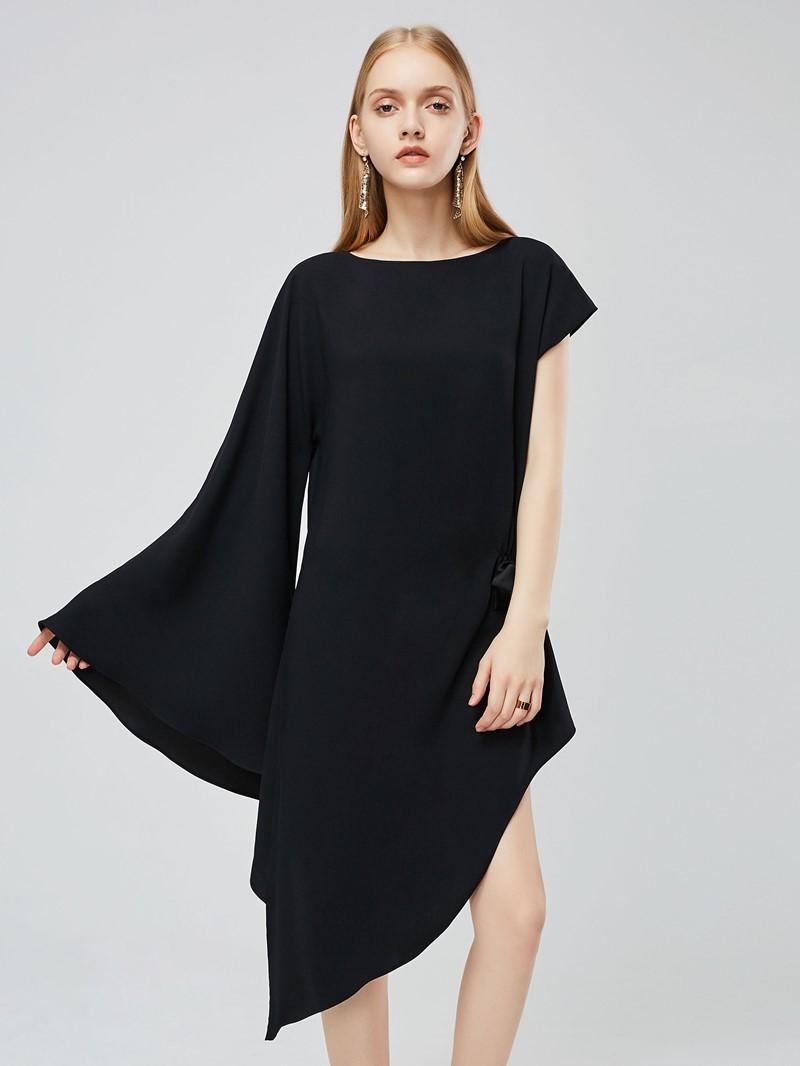 Ericdress Asymmetrical Casual Flare Sleeve Bowknot Round Neck Plain Dress