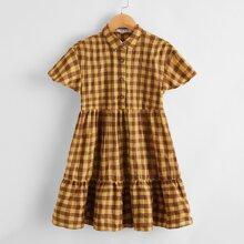 Girls Collared Buttoned Front Ruffle Hem Gingham Dress