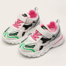 Girls Velcro Strap Colorblock Chunky Sneakers