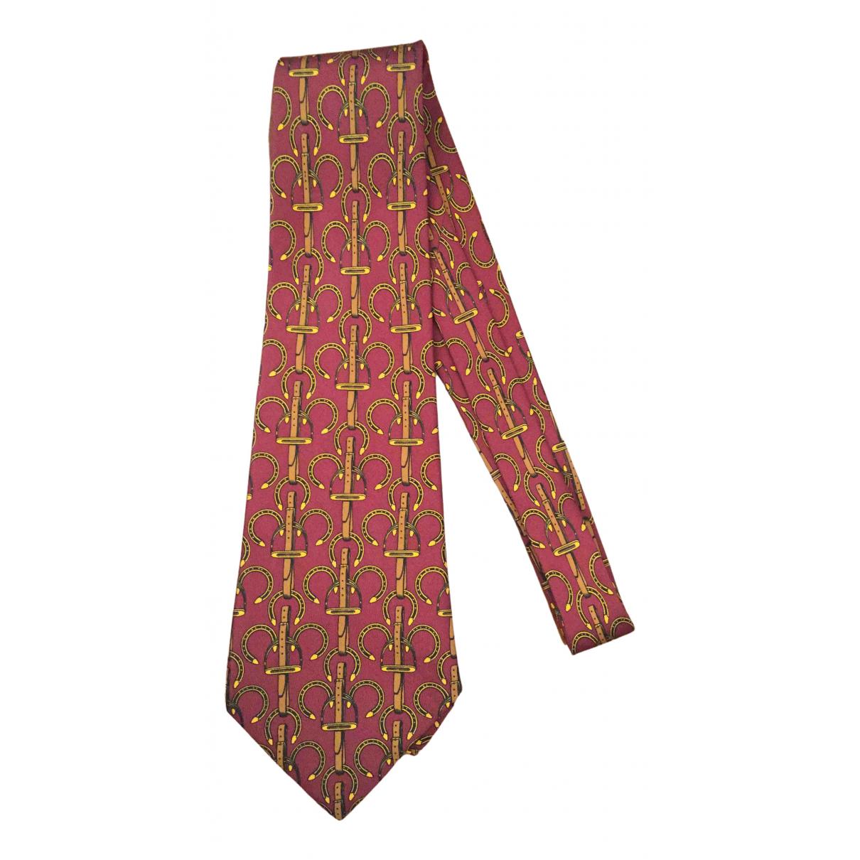 Hermes - Cravates   pour homme en soie - bordeaux