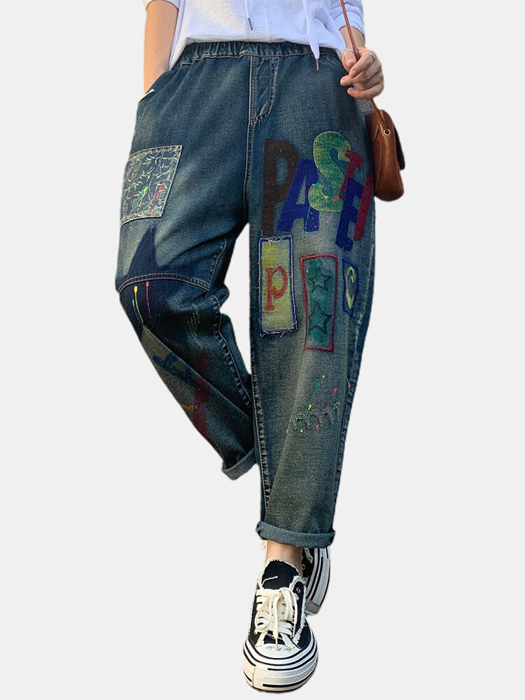 Cartoon Embroidery Elastic Waist Patchwork Demin Jeans For Women