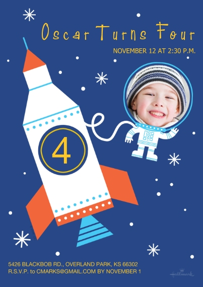 Kids Birthday Party Invites 5x7 Cards, Premium Cardstock 120lb with Rounded Corners, Card & Stationery -Spaceship