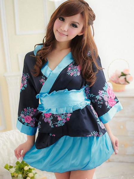 Milanoo Disfraz Halloween Vestidos y batas kimono azul ata para arriba el hombro abierto de la ropa interior de poliester Halloween