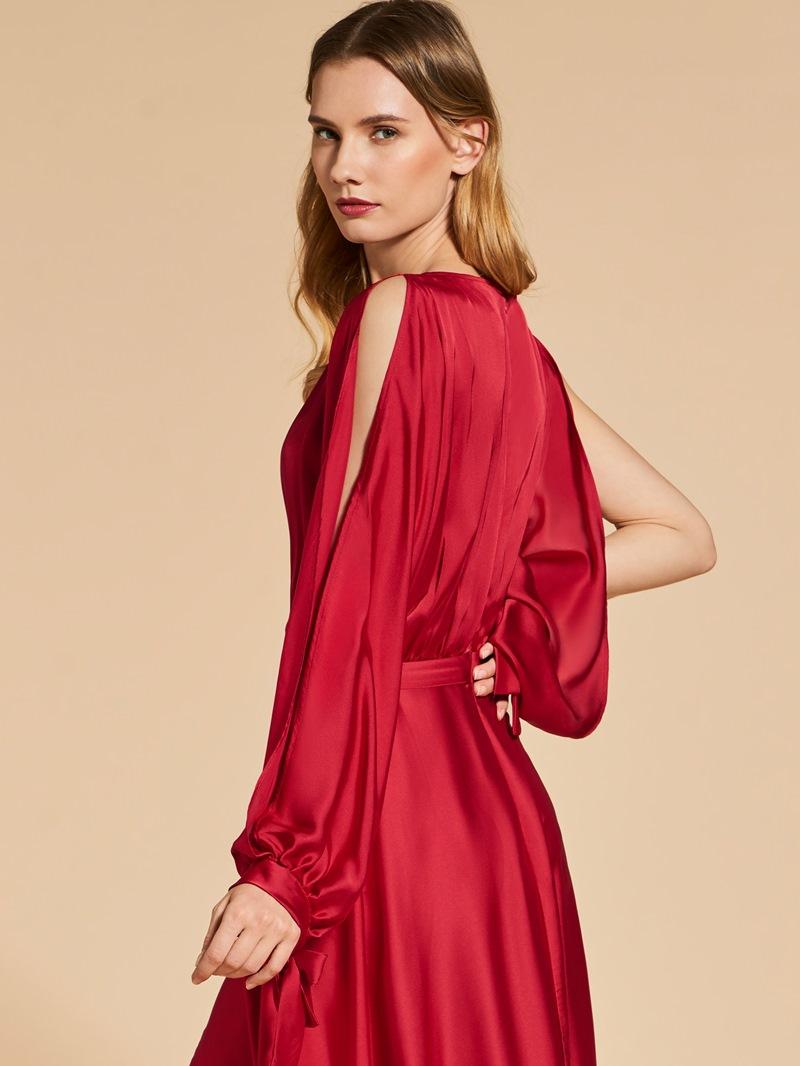 Ericdress A Line Long Sleeve V Neck Long Evening Dress With Side Slit