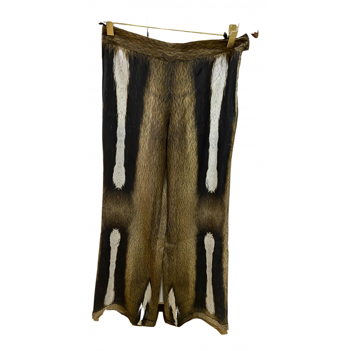 Roberto Cavalli \N Brown Silk Trousers for Women 38 IT