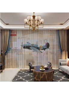 3D Cartoon Military Aircraft Printed 2 Panels 2 Panels Custom Sheer