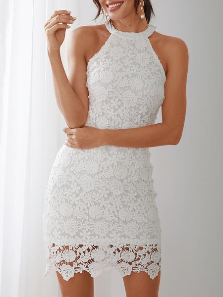 Yoins White Halter Neck Delicate Lace Bodycon Midi Dress