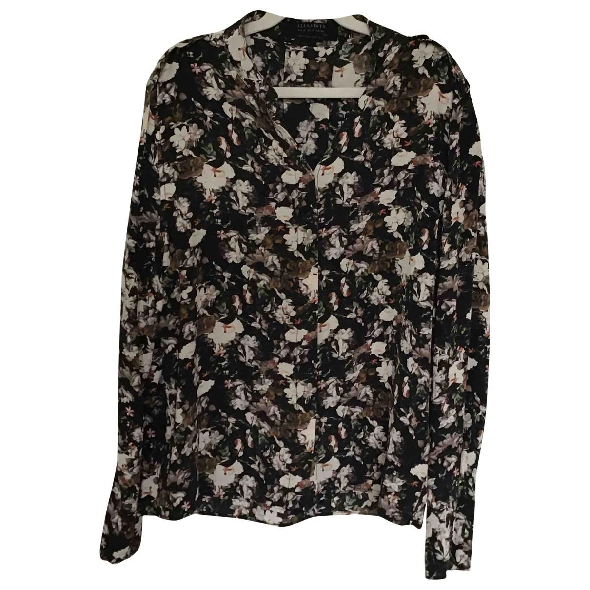 All Saints - Top   pour femme en soie - noir