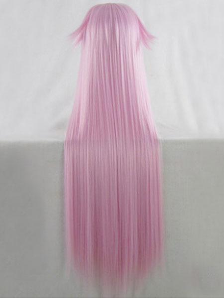 Milanoo Halloween Carnaval Peluca de disfraz de fibra resistente al calor Cosplay rosa con peluca