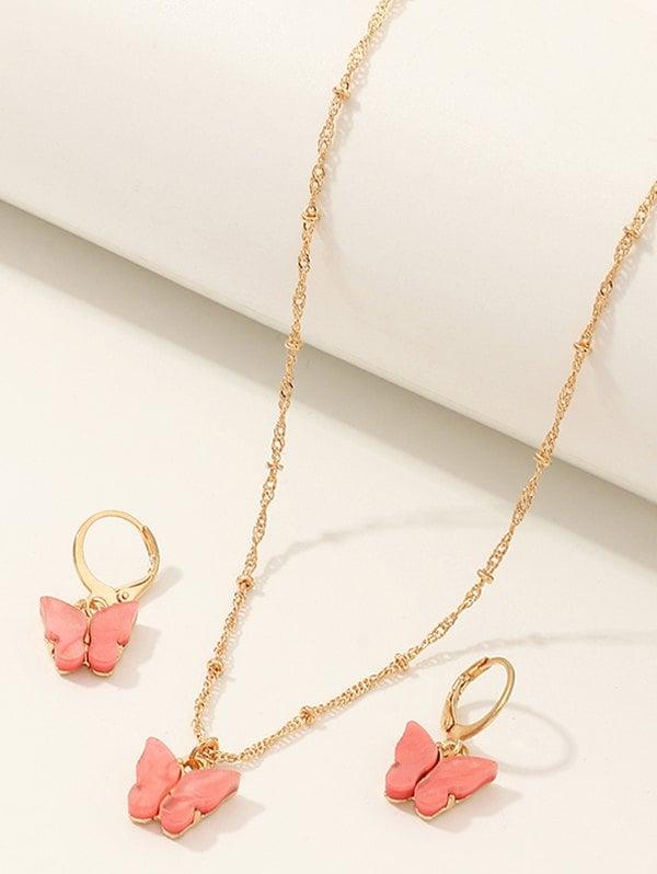 Butterfly Pendant Acrylic Earrings Necklace Set
