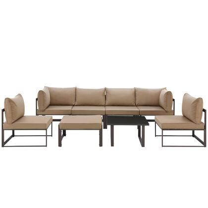 Fortuna Collection EEI-1728-BRN-MOC-SET 8-Piece Outdoor Patio Sectional Sofa Set with 2 Corner Sections  4 Center Sections  Ottoman and Side Table in
