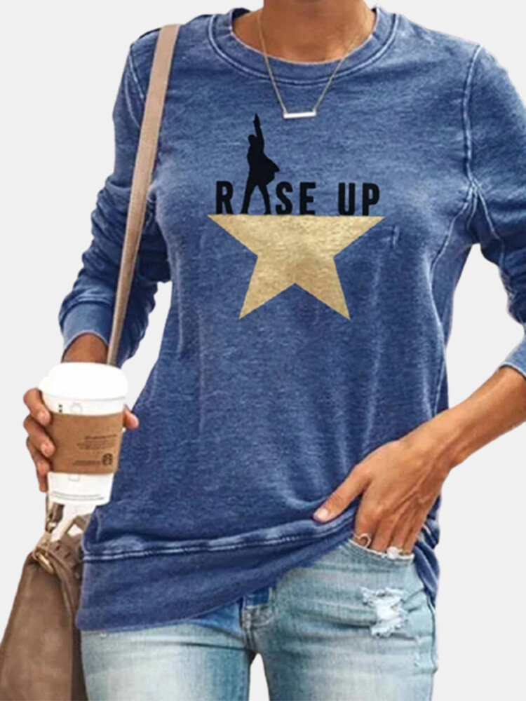 Letter Star Print O-neck Long Sleeve Casual T-Shirt For Women
