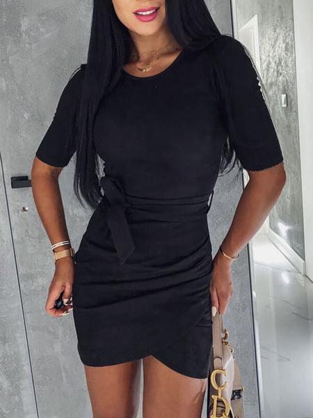 Milanoo Bodycon Dresses Short Sleeves Jewel Neck Tie Waist Sheath Dress