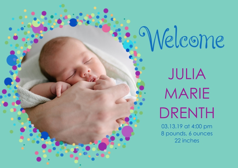 Newborn 5x7 Cards, Premium Cardstock 120lb, Card & Stationery -Bubbly Baby Announcement Girl by Well Wishes