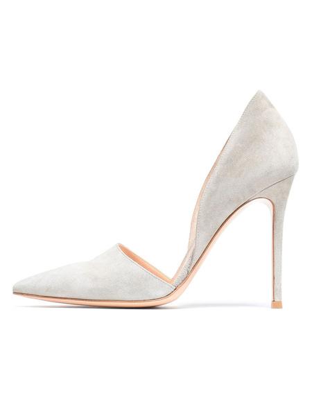 Milanoo Red Dress Shoes Suede Pointed Toe Stiletto Heel Pumps Women High Heels