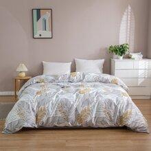 Bettbezug mit Blatt Muster ohne Fuellstoff
