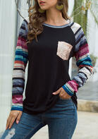 Colorful Striped Sequined Pocket Splicing T-Shirt Tee - Black