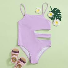 Girls Cut-out Side One Piece Swimsuit