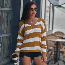 Striped Drop Shoulder V Neck Sweater
