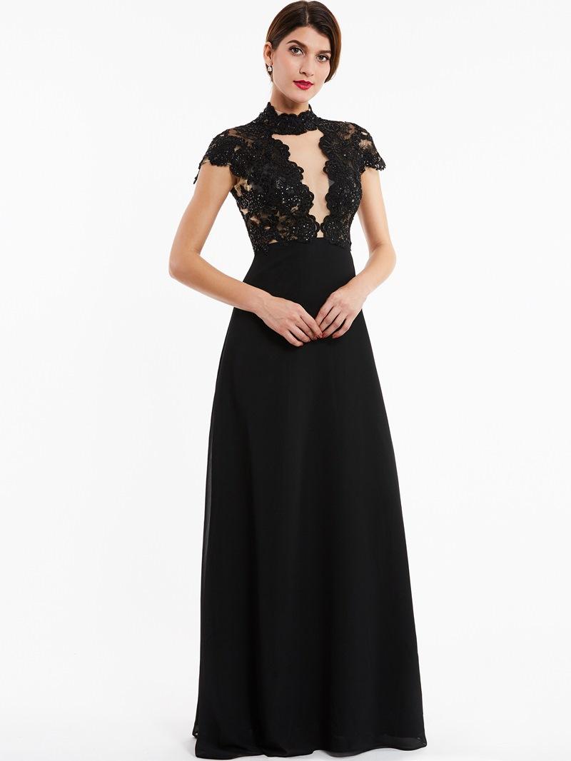 Ericdress High Neck Zipper-Up Beaded A Line Evening Dress