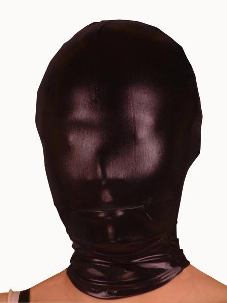 Milanoo Halloween Shiny Metallic Black Mask with Mouth Zippered Opening Halloween